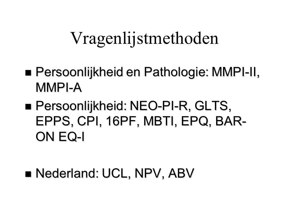 Vragenlijstmethoden Persoonlijkheid en Pathologie: MMPI-II, MMPI-A
