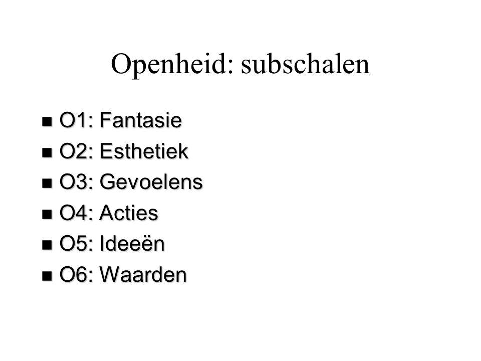 Openheid: subschalen O1: Fantasie O2: Esthetiek O3: Gevoelens