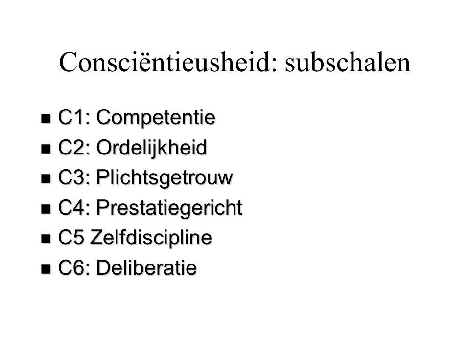 Consciëntieusheid: subschalen