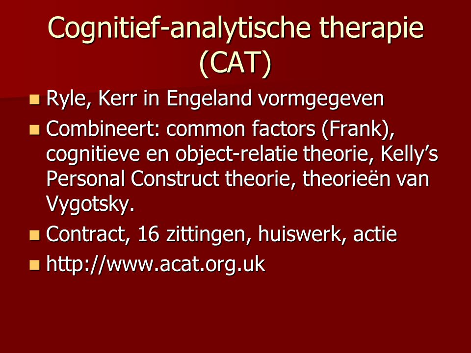 Cognitief-analytische therapie (CAT)