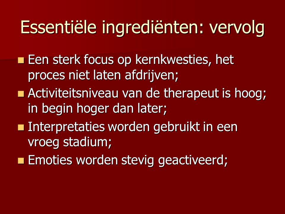 Essentiële ingrediënten: vervolg