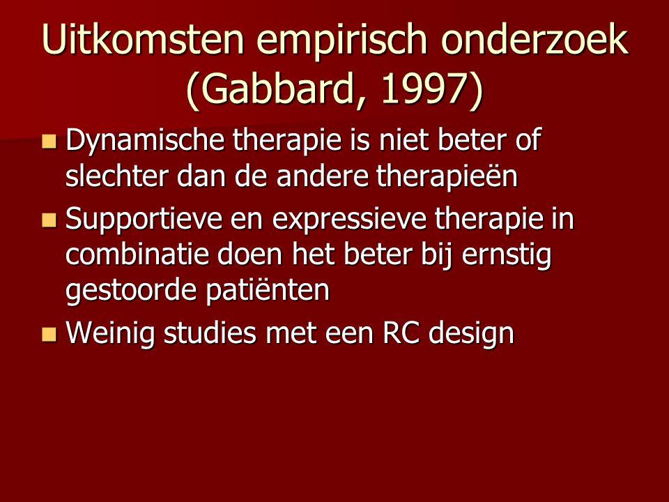 Uitkomsten empirisch onderzoek (Gabbard, 1997)