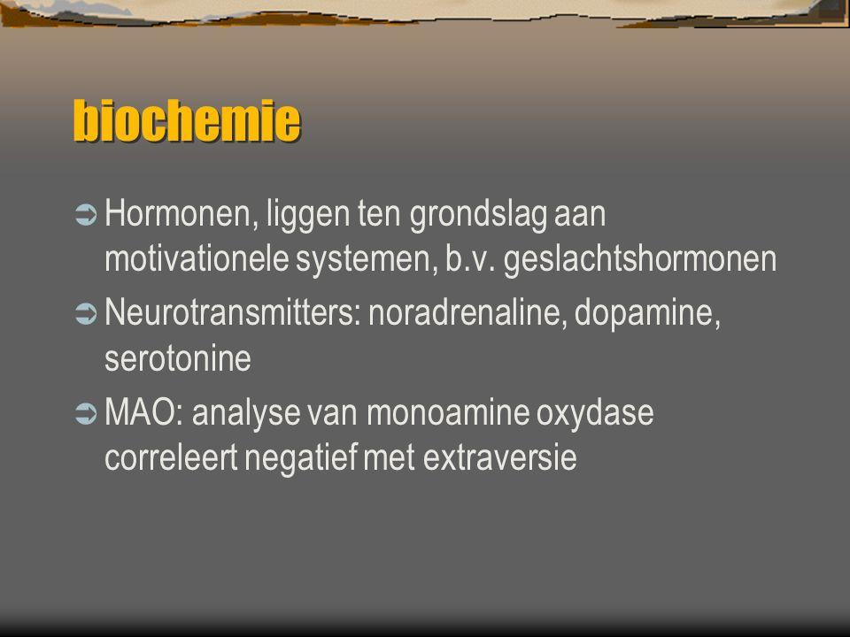 biochemie Hormonen, liggen ten grondslag aan motivationele systemen, b.v. geslachtshormonen. Neurotransmitters: noradrenaline, dopamine, serotonine.