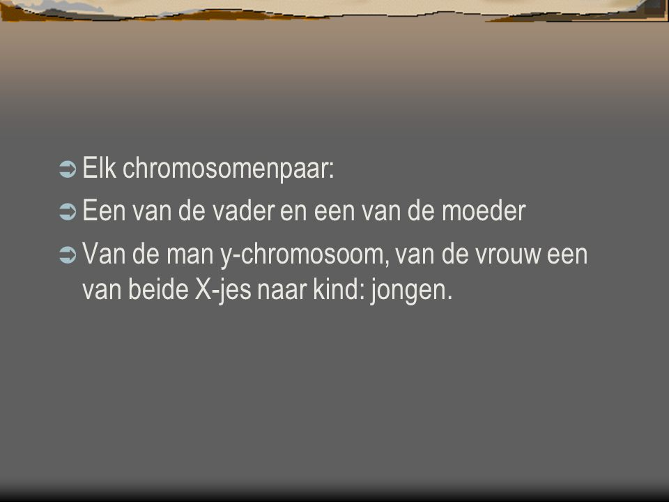 Elk chromosomenpaar: Een van de vader en een van de moeder.