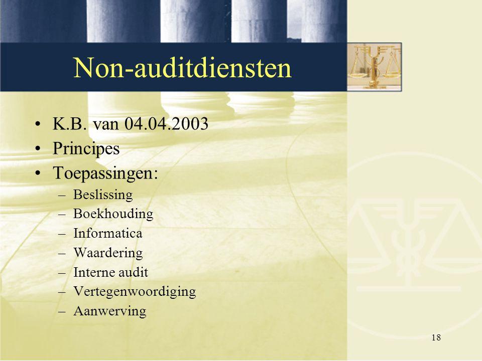 Non-auditdiensten K.B. van 04.04.2003 Principes Toepassingen: