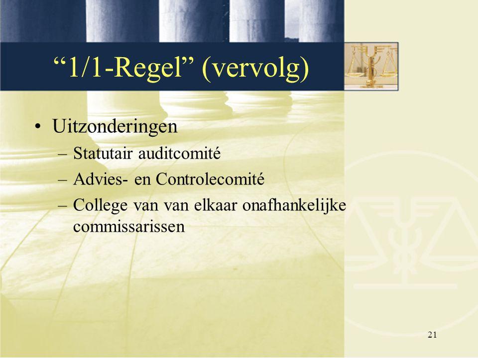 1/1-Regel (vervolg) Uitzonderingen Statutair auditcomité