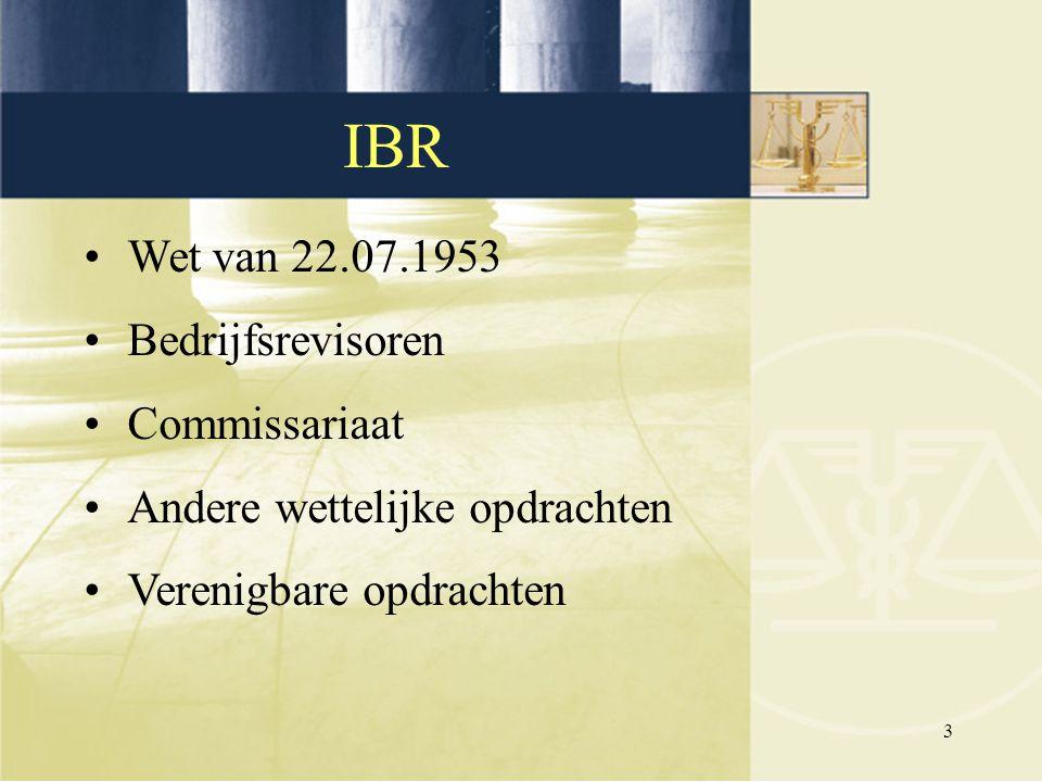 IBR Wet van 22.07.1953 Bedrijfsrevisoren Commissariaat