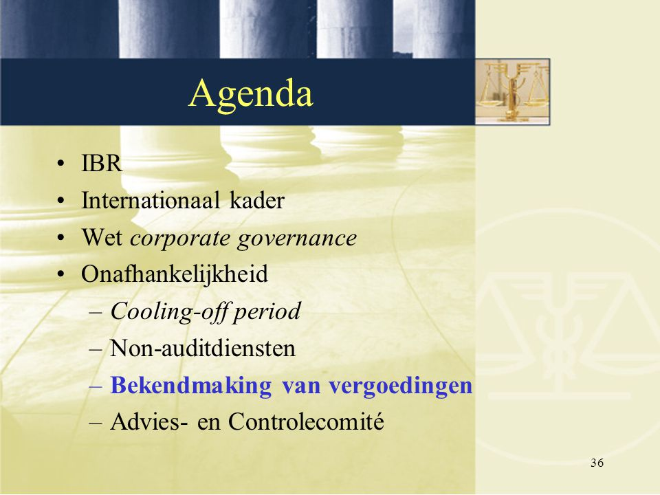 Agenda IBR Internationaal kader Wet corporate governance