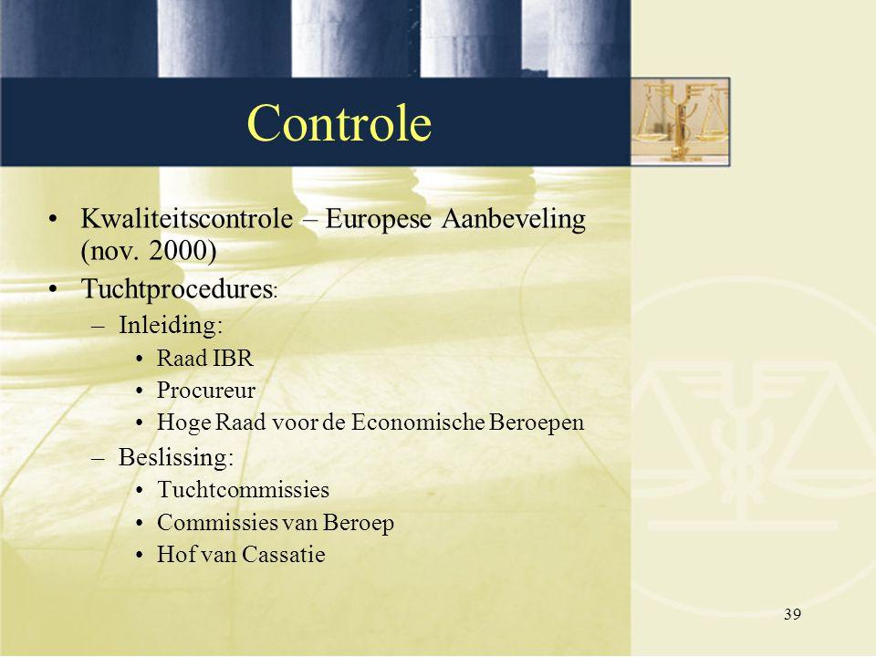 Controle Kwaliteitscontrole – Europese Aanbeveling (nov. 2000)