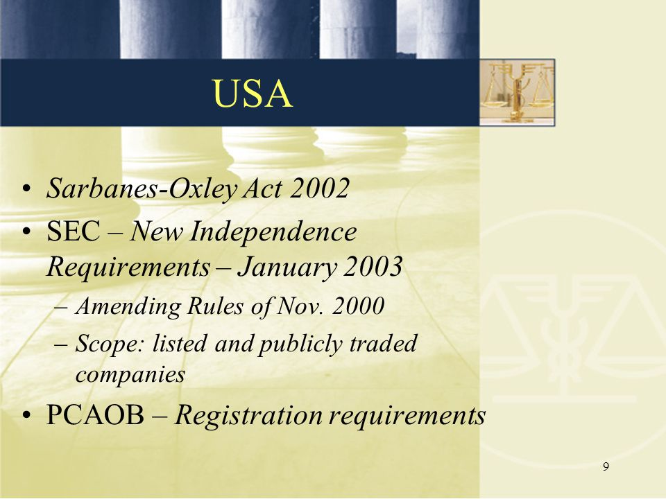 USA Sarbanes-Oxley Act 2002