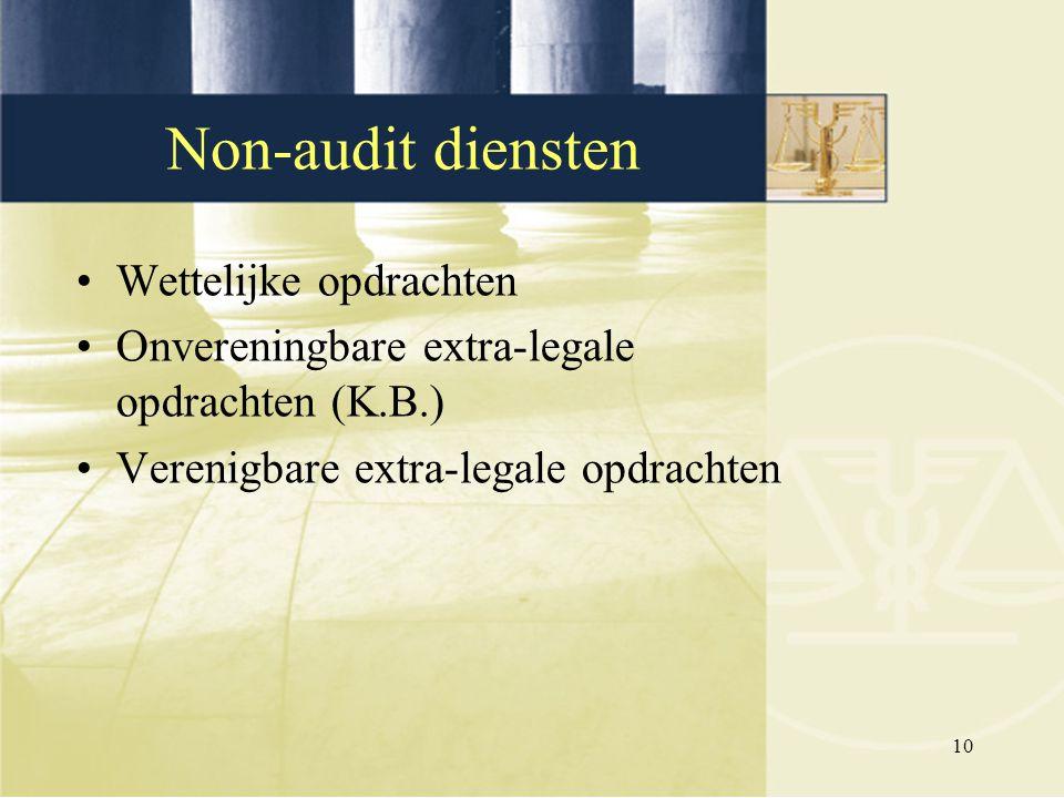 Non-audit diensten Wettelijke opdrachten