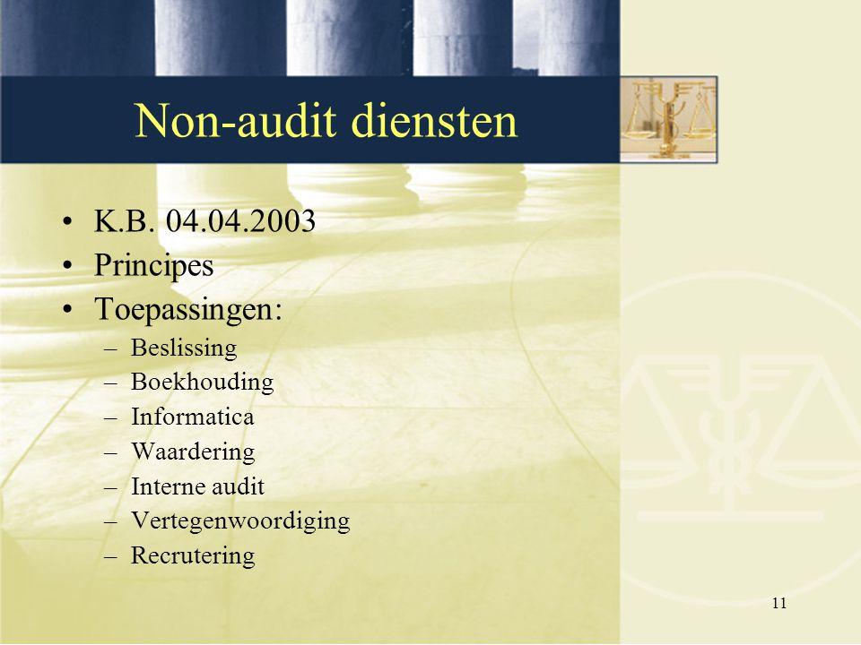 Non-audit diensten K.B. 04.04.2003 Principes Toepassingen: Beslissing