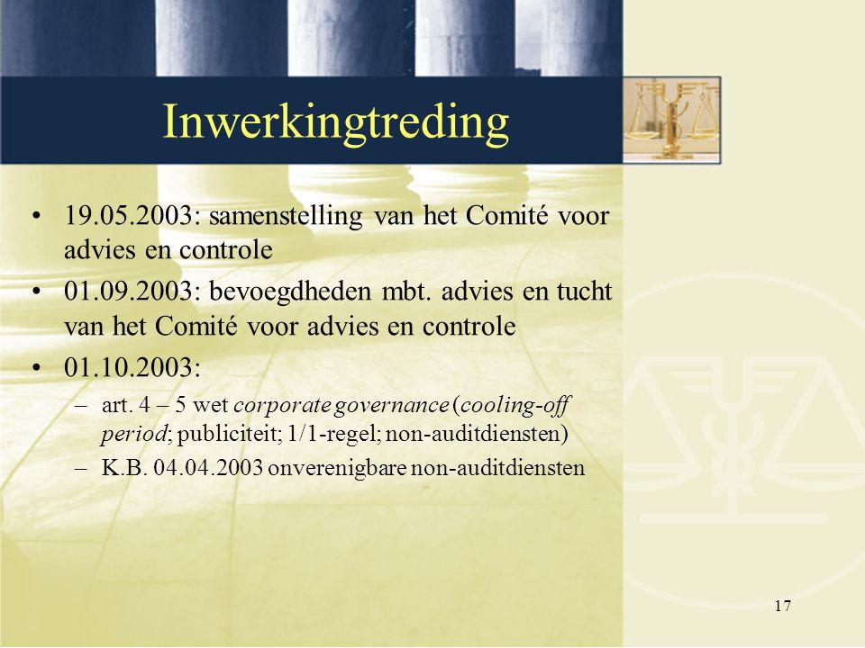 Inwerkingtreding 19.05.2003: samenstelling van het Comité voor advies en controle.