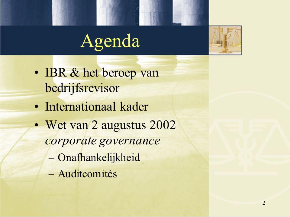 Agenda IBR & het beroep van bedrijfsrevisor Internationaal kader