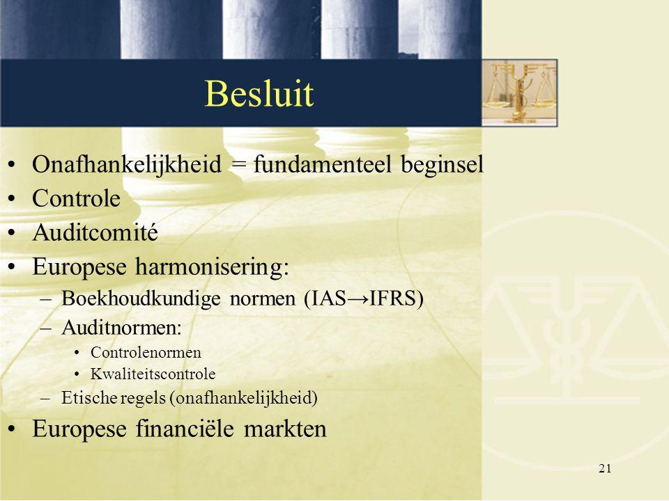 Besluit Onafhankelijkheid = fundamenteel beginsel Controle Auditcomité