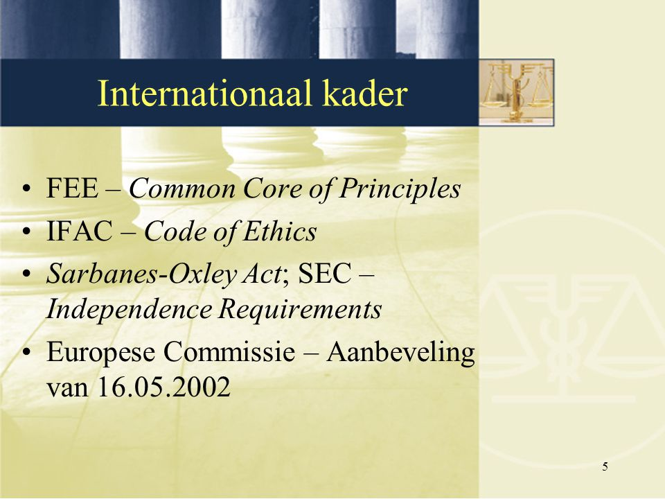 Internationaal kader FEE – Common Core of Principles