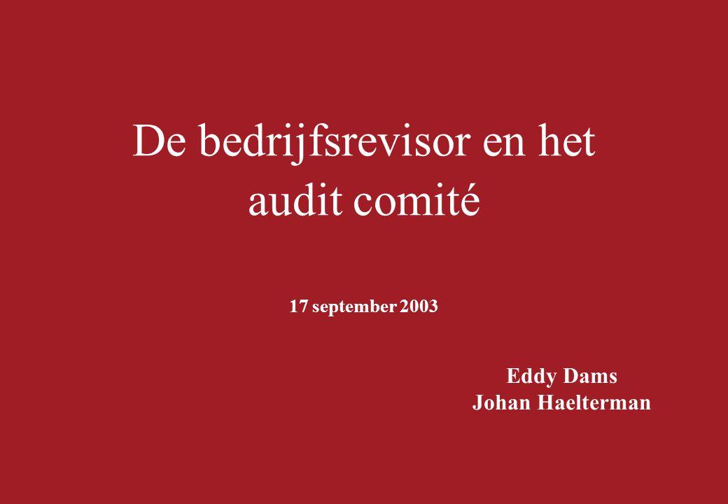 De bedrijfsrevisor en het audit comité