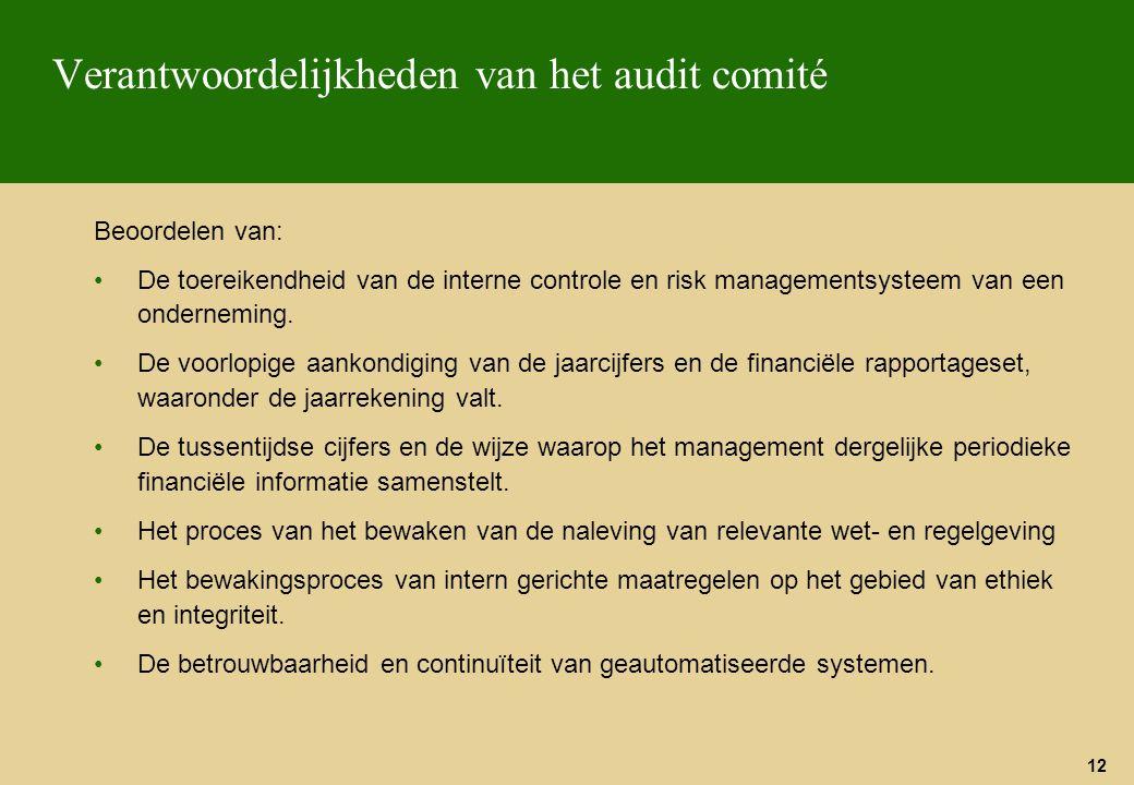 Verantwoordelijkheden van het audit comité