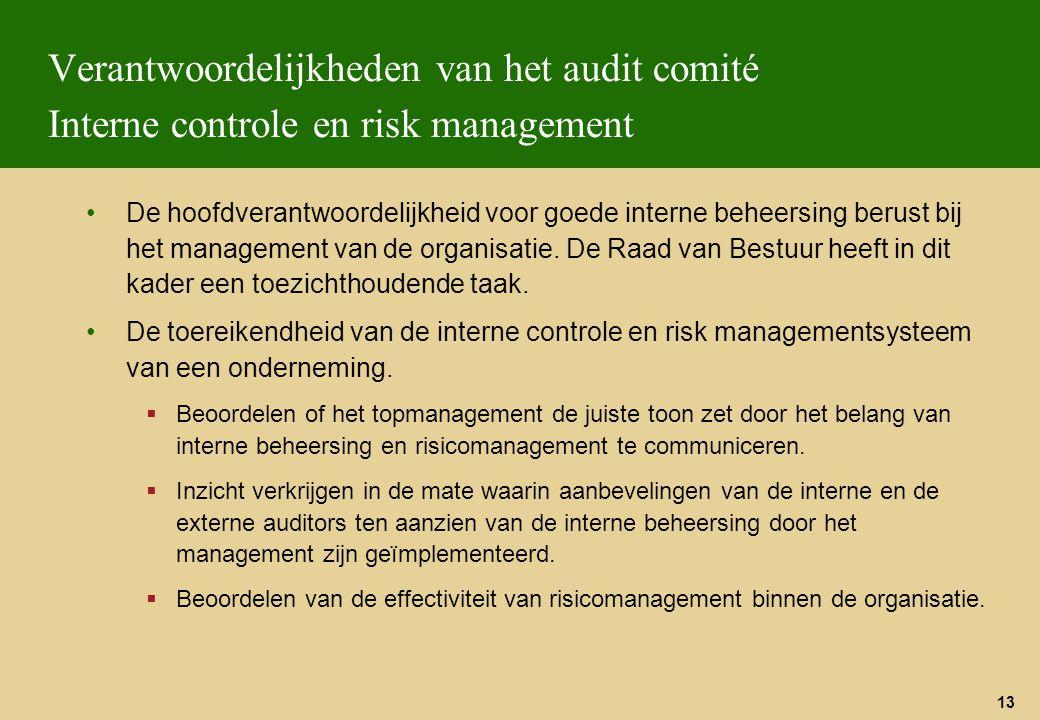 Verantwoordelijkheden van het audit comité Interne controle en risk management
