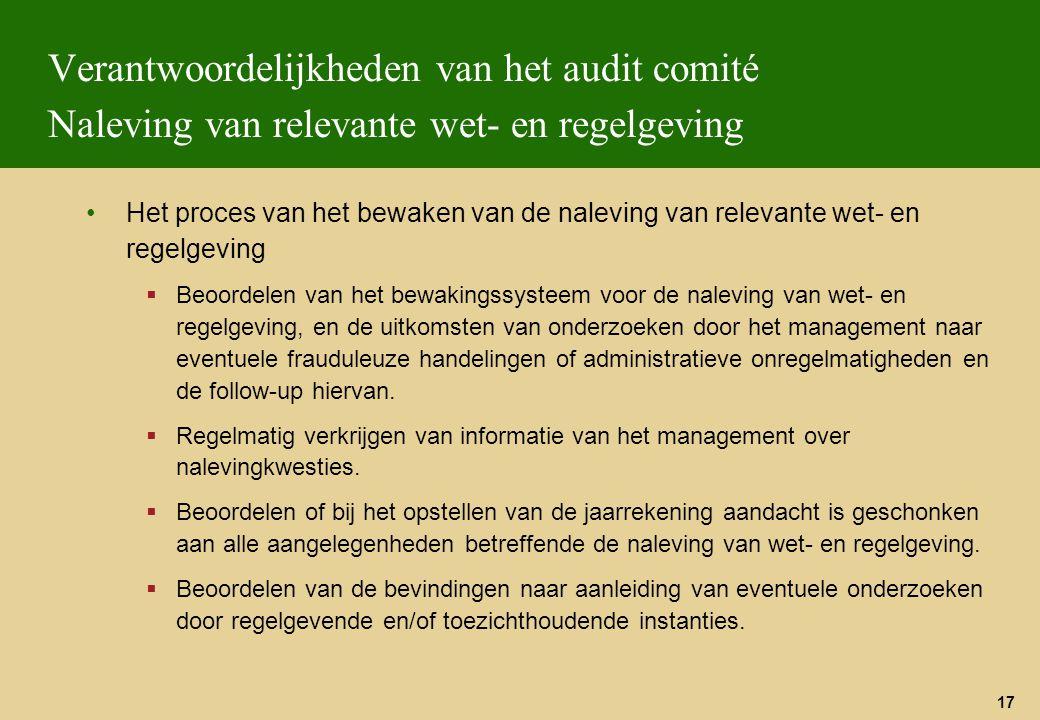 Verantwoordelijkheden van het audit comité Naleving van relevante wet- en regelgeving