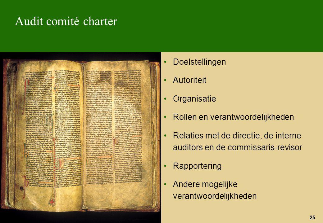 Audit comité charter Doelstellingen Autoriteit Organisatie