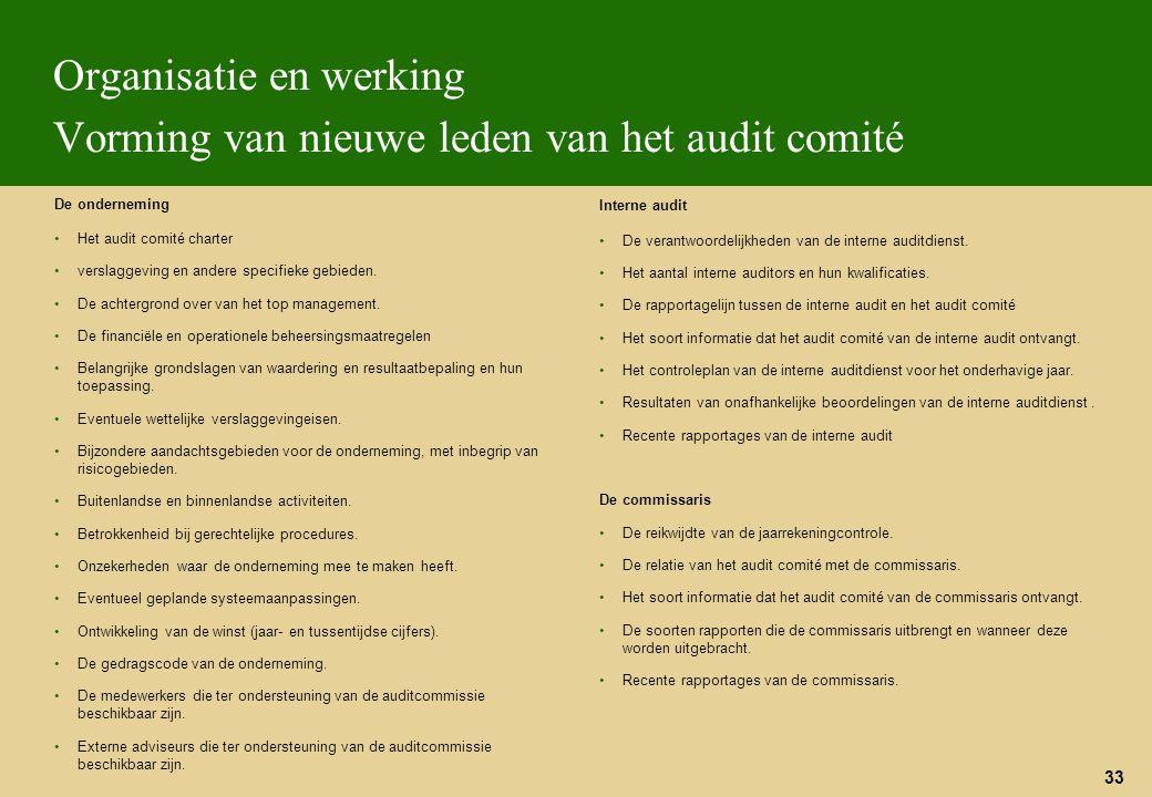 Organisatie en werking Vorming van nieuwe leden van het audit comité