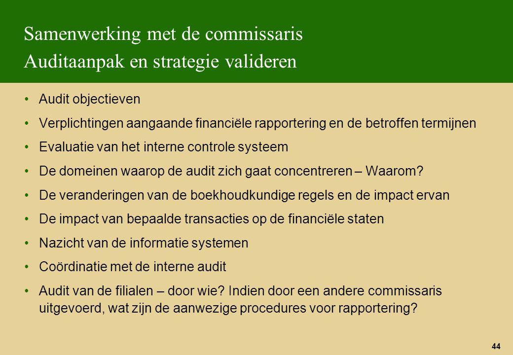 Samenwerking met de commissaris Auditaanpak en strategie valideren