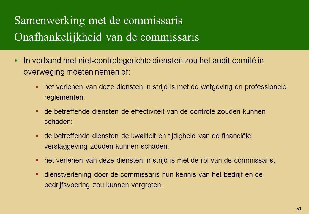 Samenwerking met de commissaris Onafhankelijkheid van de commissaris