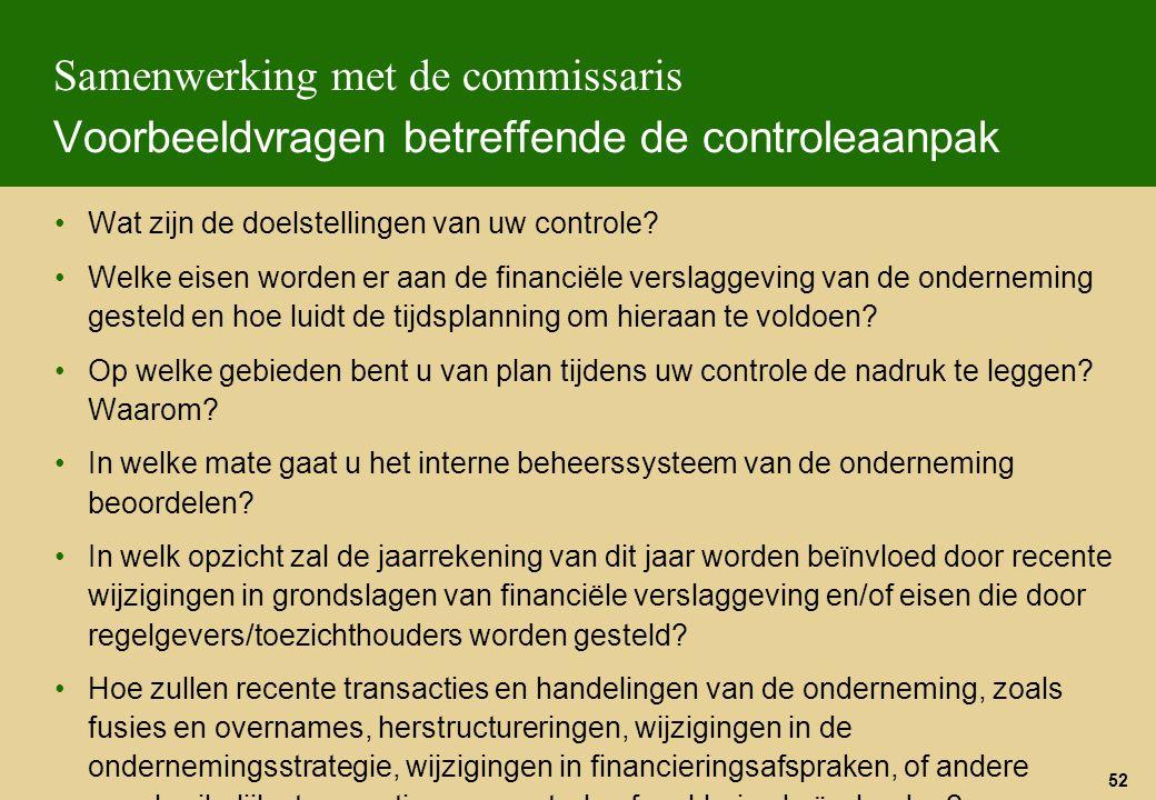 Samenwerking met de commissaris Voorbeeldvragen betreffende de controleaanpak