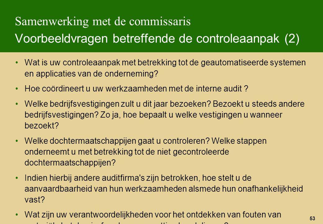 Samenwerking met de commissaris Voorbeeldvragen betreffende de controleaanpak (2)