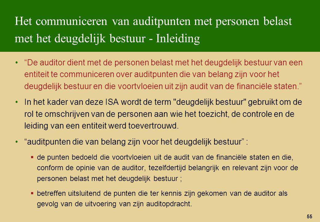 Het communiceren van auditpunten met personen belast met het deugdelijk bestuur - Inleiding