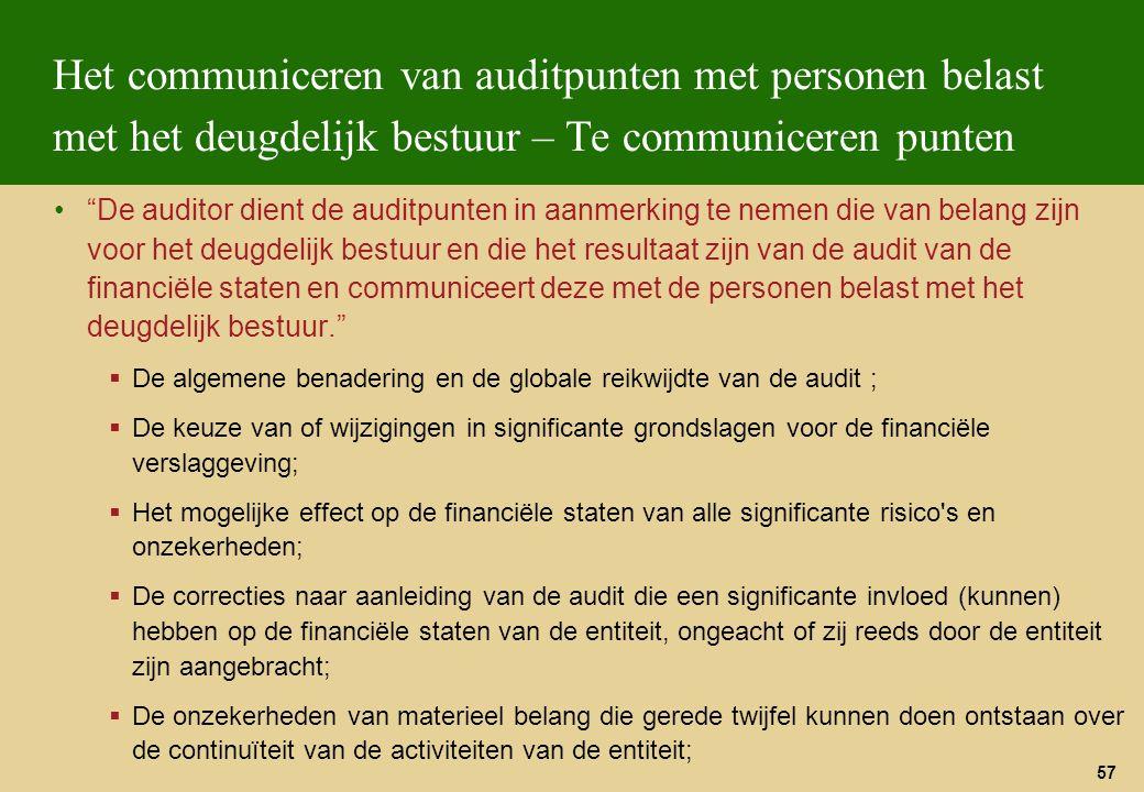 Het communiceren van auditpunten met personen belast met het deugdelijk bestuur – Te communiceren punten