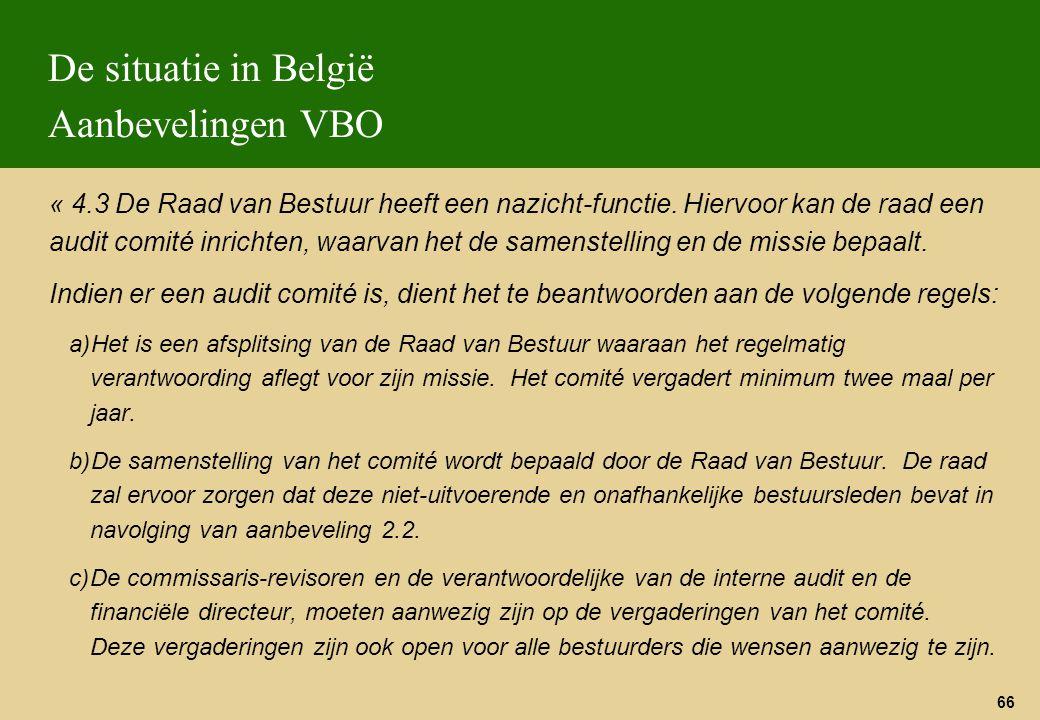 De situatie in België Aanbevelingen VBO