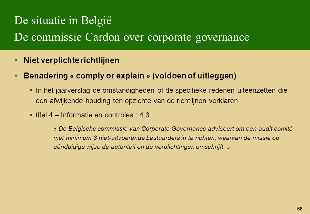De situatie in België De commissie Cardon over corporate governance