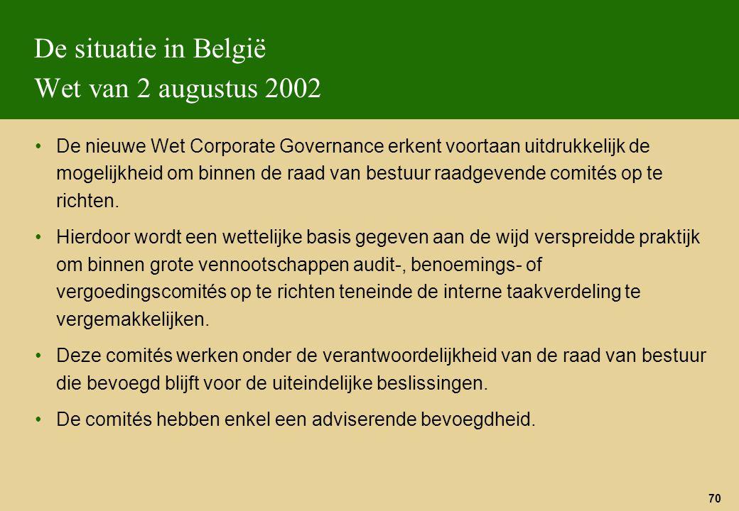 De situatie in België Wet van 2 augustus 2002