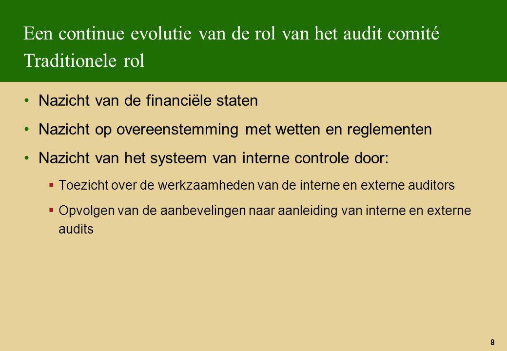 Een continue evolutie van de rol van het audit comité Traditionele rol