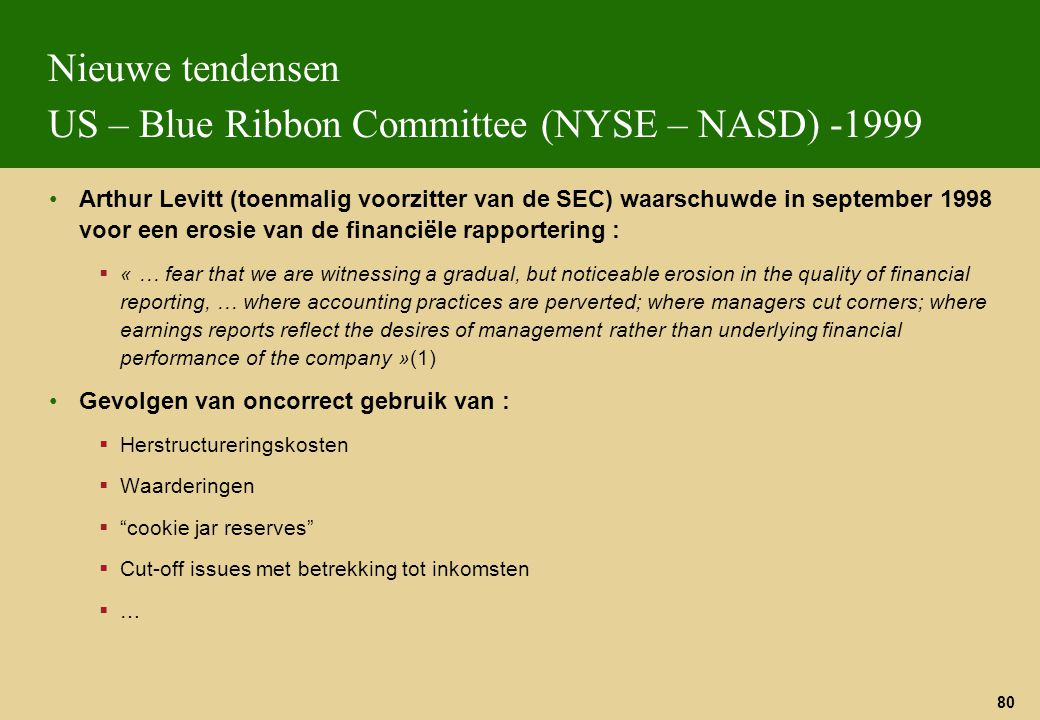 Nieuwe tendensen US – Blue Ribbon Committee (NYSE – NASD) -1999