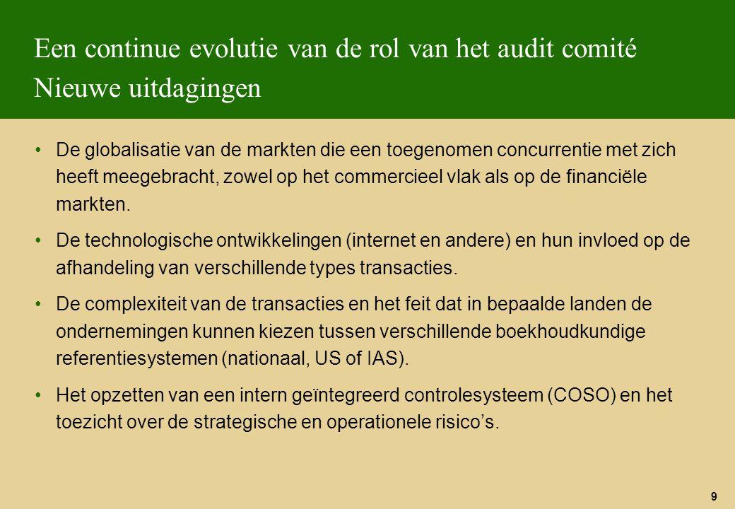 Een continue evolutie van de rol van het audit comité Nieuwe uitdagingen