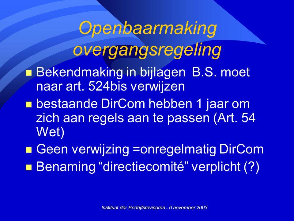 Openbaarmaking overgangsregeling