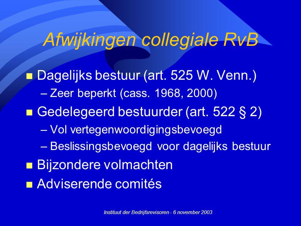 Afwijkingen collegiale RvB