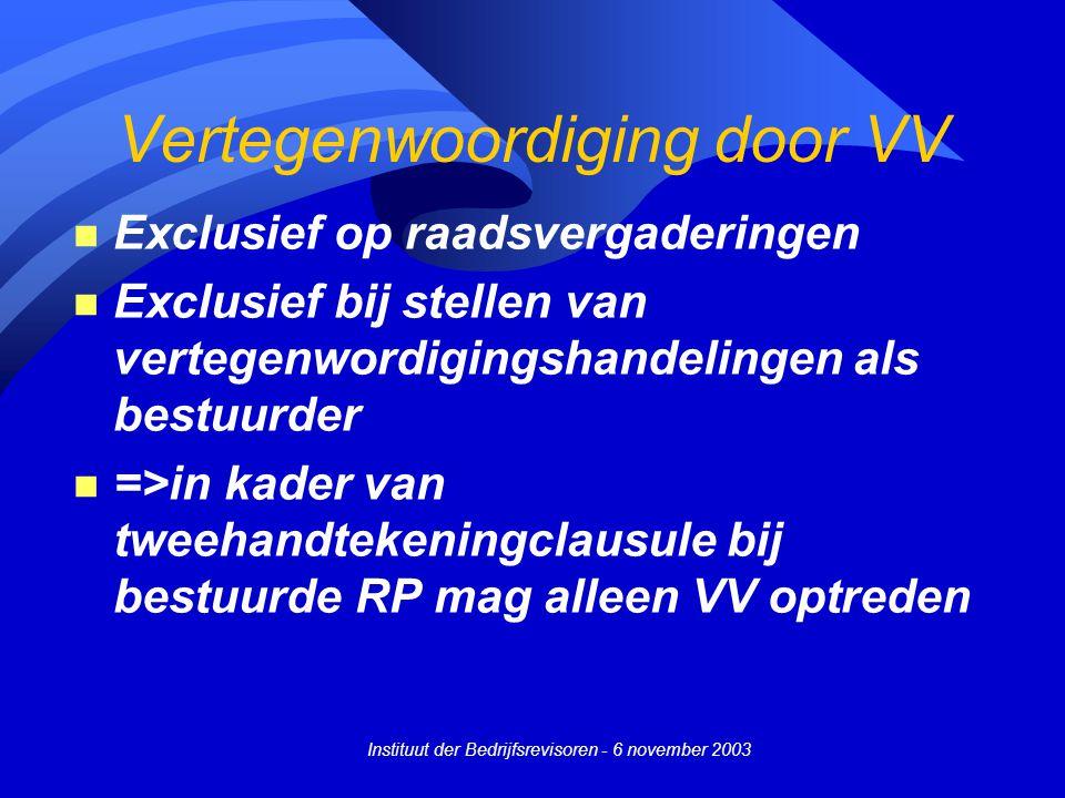 Vertegenwoordiging door VV