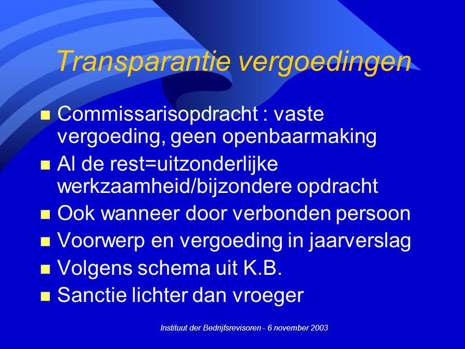 Transparantie vergoedingen