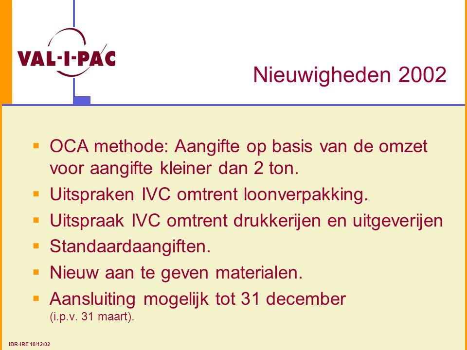 Nieuwigheden 2002 OCA methode: Aangifte op basis van de omzet voor aangifte kleiner dan 2 ton. Uitspraken IVC omtrent loonverpakking.