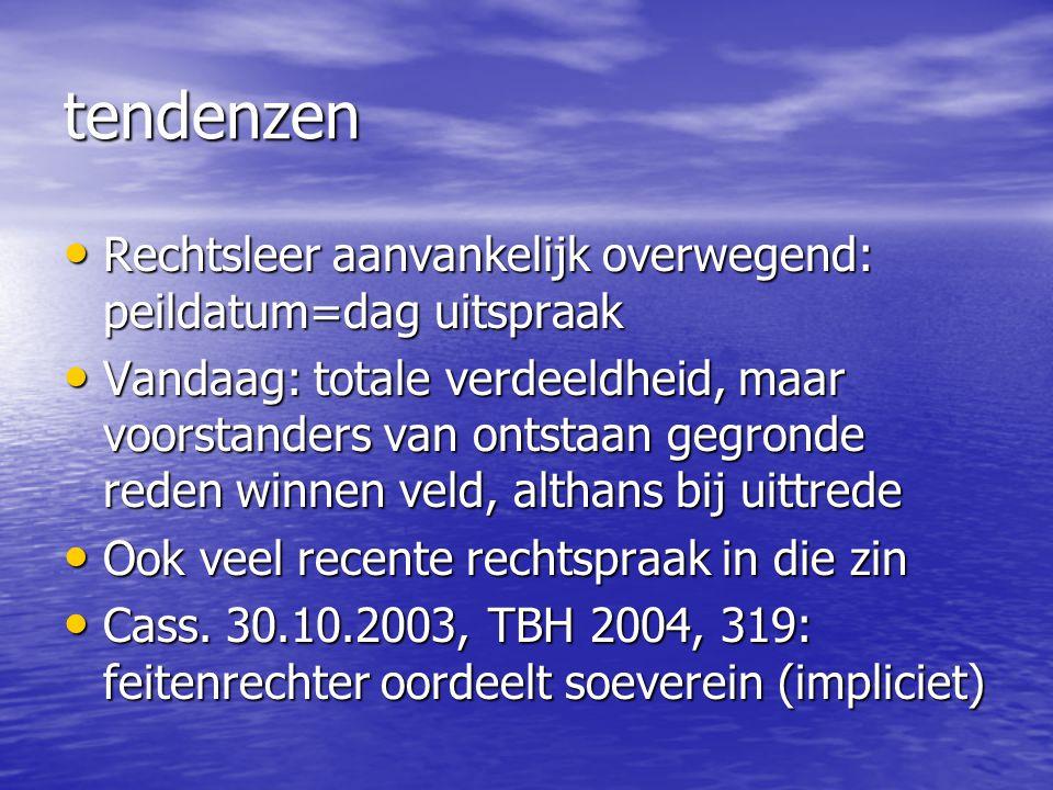 tendenzen Rechtsleer aanvankelijk overwegend: peildatum=dag uitspraak