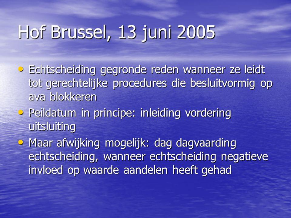 Hof Brussel, 13 juni 2005 Echtscheiding gegronde reden wanneer ze leidt tot gerechtelijke procedures die besluitvormig op ava blokkeren.