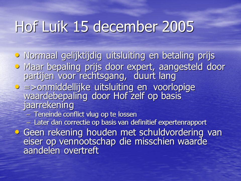 Hof Luik 15 december 2005 Normaal gelijktijdig uitsluiting en betaling prijs.