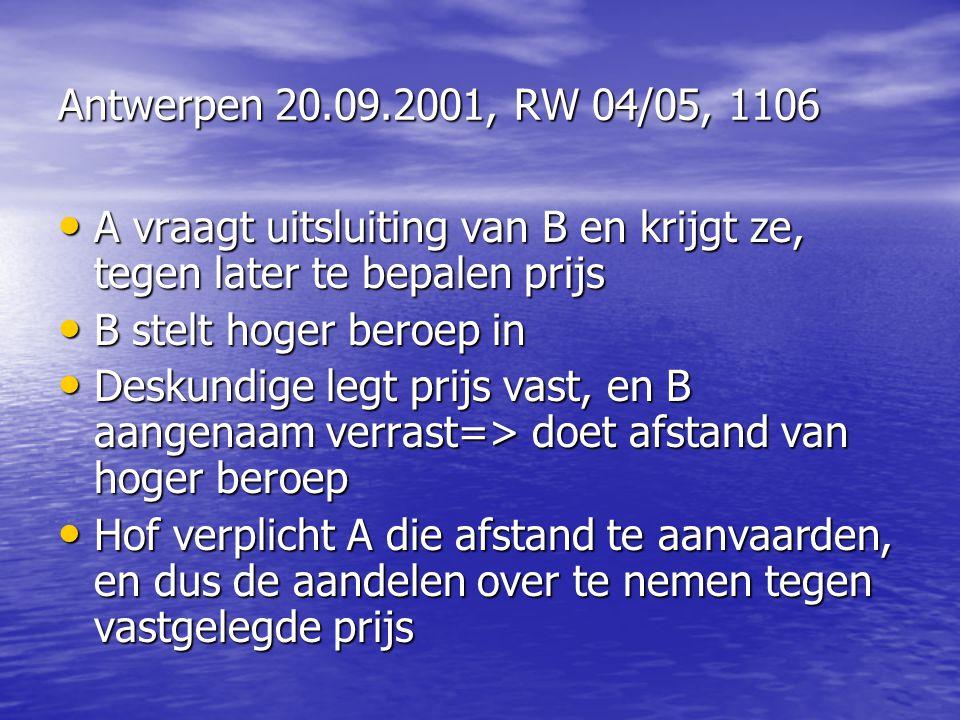 Antwerpen 20.09.2001, RW 04/05, 1106 A vraagt uitsluiting van B en krijgt ze, tegen later te bepalen prijs.