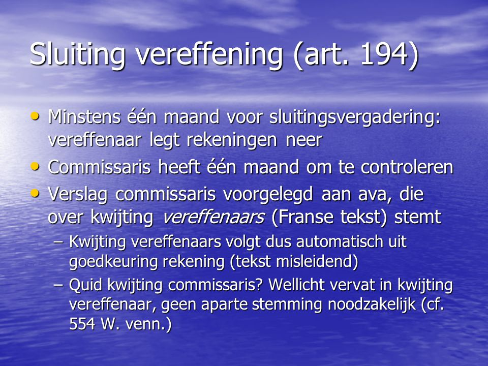 Sluiting vereffening (art. 194)