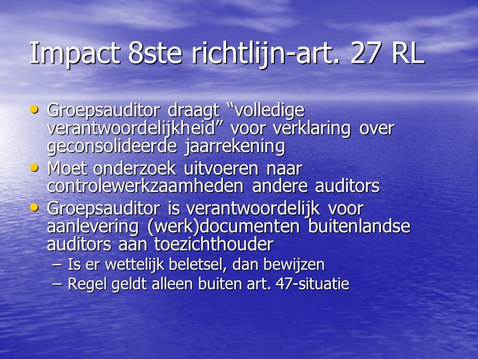 Impact 8ste richtlijn-art. 27 RL