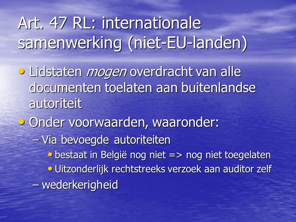 Art. 47 RL: internationale samenwerking (niet-EU-landen)